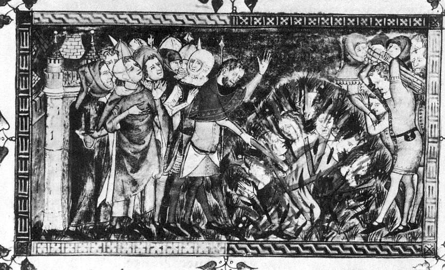 שריפת יהודים ב-1349 (מתוך ויקיפדיה - A History of the Jewish People by H.H. Ben-Sasson, ed. (Harvard University Press, Cambridge, 1976))