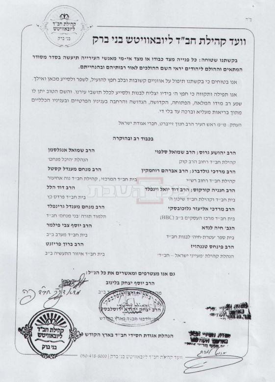 מכתב הרבנים שנשלח לראש העיר