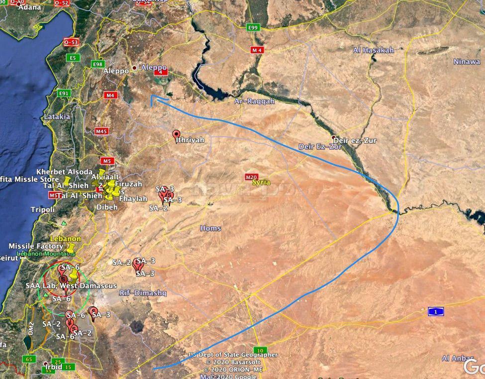היכן שישראל תקפה הערב, בסוריה