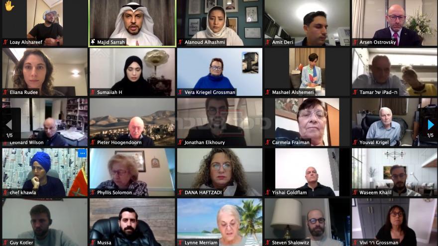 חלק ממשתתפי השיחה ב'זום' (צילום מסך / JNS)
