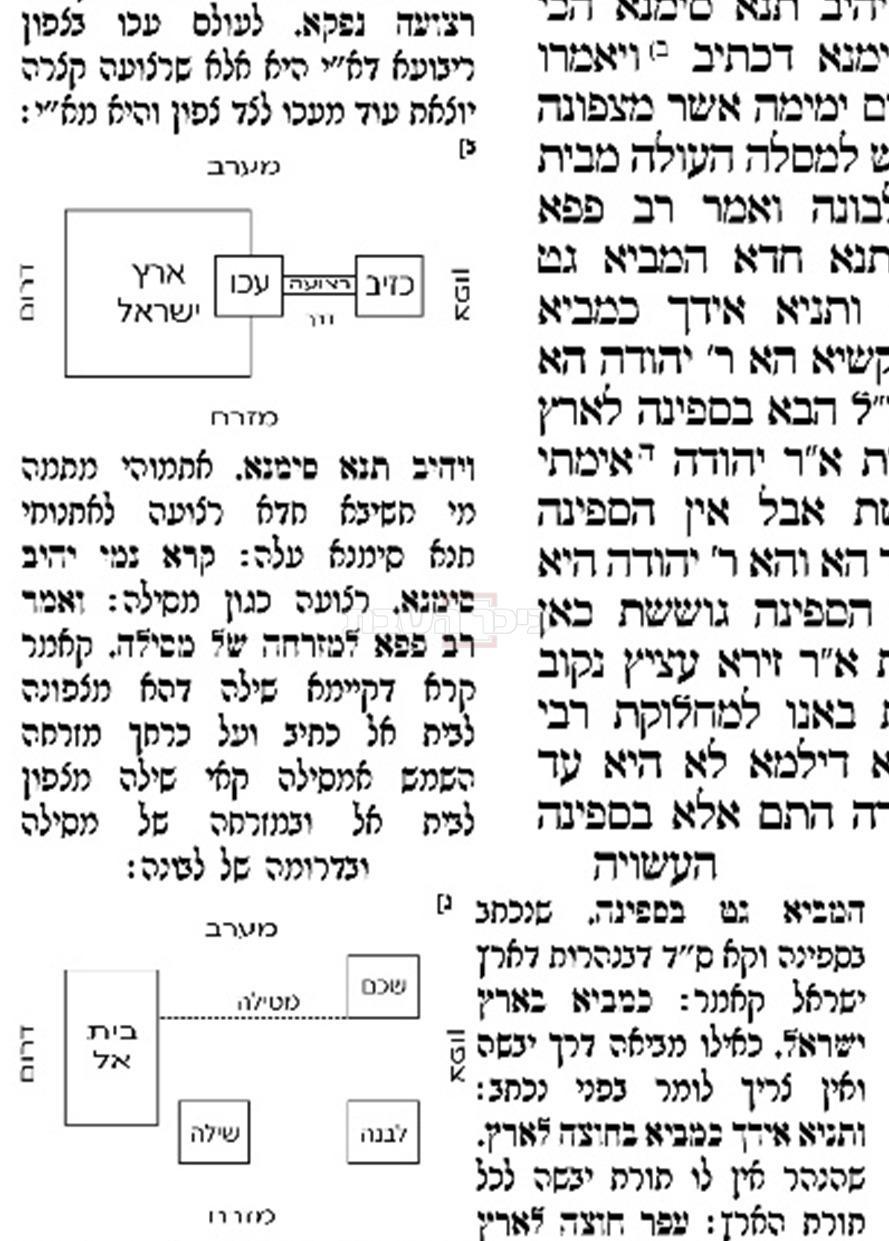 מפה שצייר רש''י המתארת היכן נמצא משכן שילה, וכן על גבולה הצפוני של ארץ ישראל (בשנים אלו העיר עכו) (באדיבות אוצר החכמה)