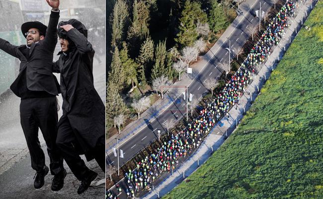 מרתון ירושלים לצד הפגנה של 'הפלג' (צילום: נתי שוחט ויונתן זינדל, פלאש 90)