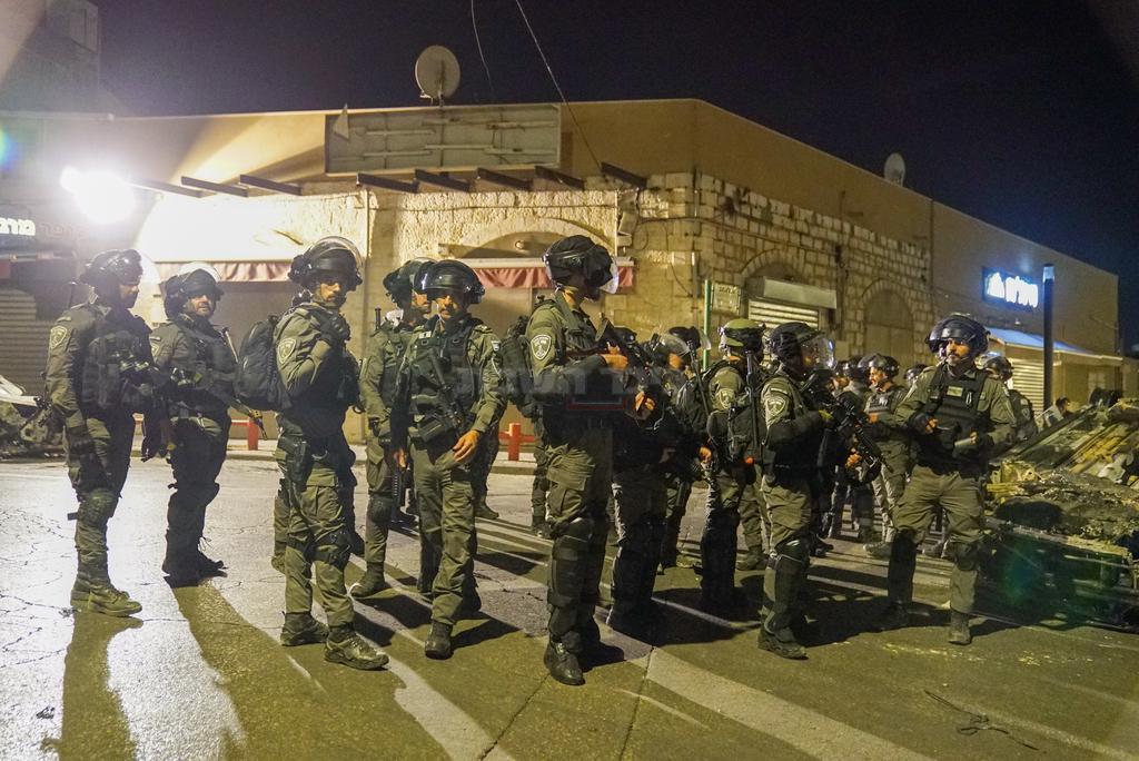 פלוגת מג''ב שהובאה לעיר (צילום: דוברות המשטרה)