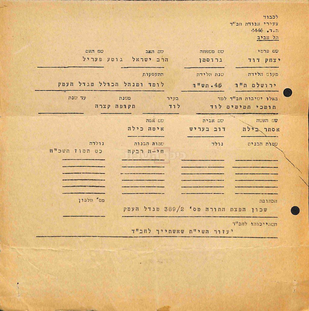 המכתב של הגרי''ד גרוסמן (באדיבות ספריית חב''ד העולמית)