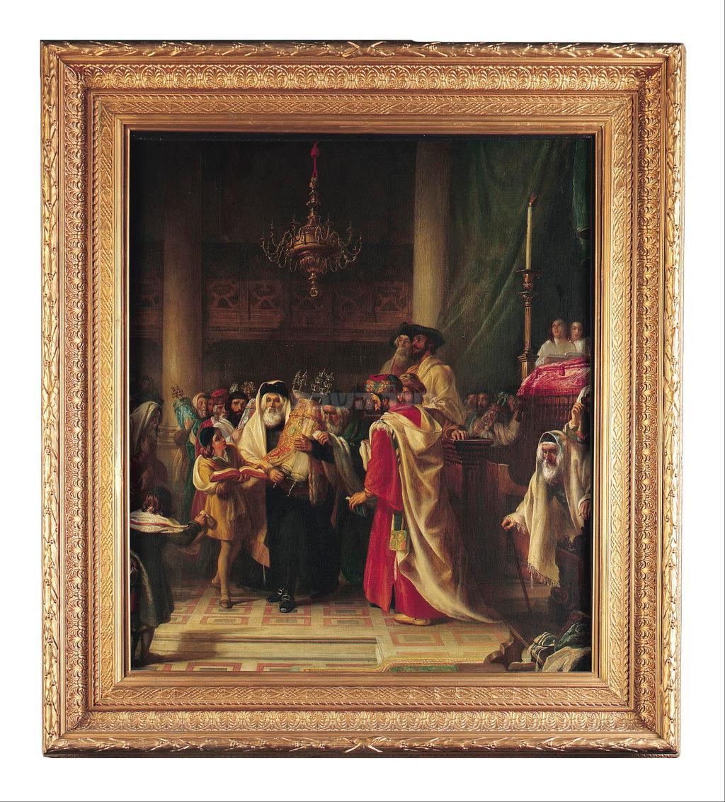 שמחת תורה בבית הכנסת העתיק בליבורנו (האיור של הצייר סולומון אלכסנדר הארט)