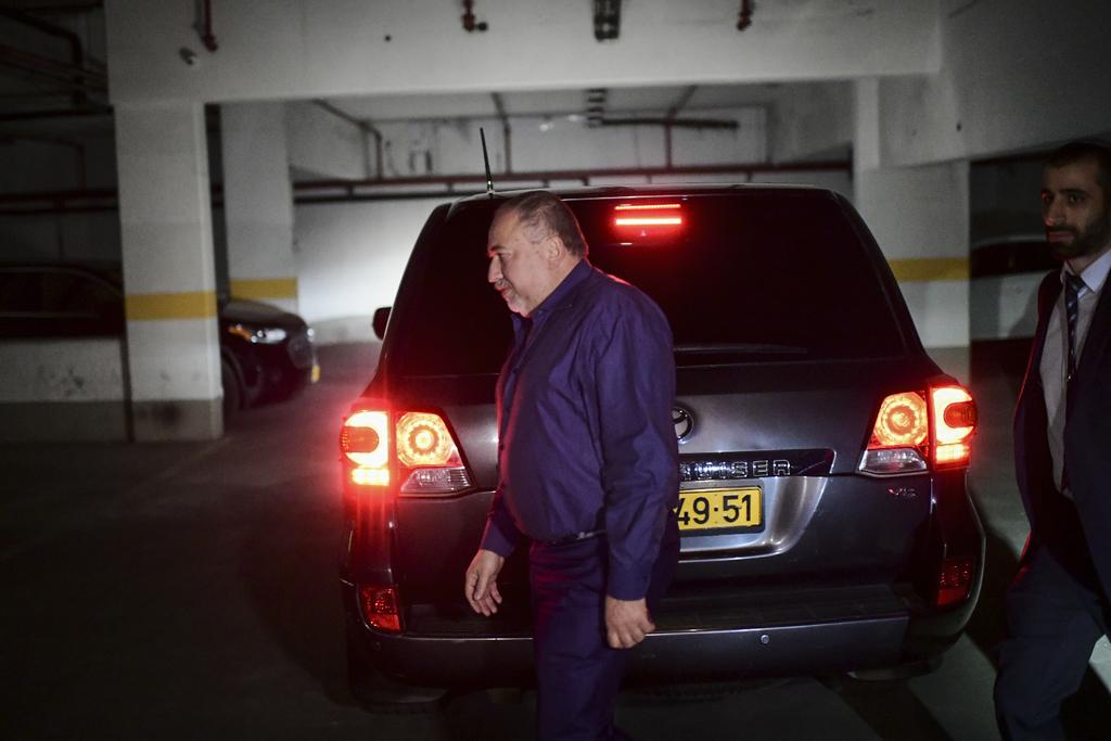 ליברמן, לאחר פגישה עם גנץ ולפיד (צילום: Tomer Neuberg/Flash90)