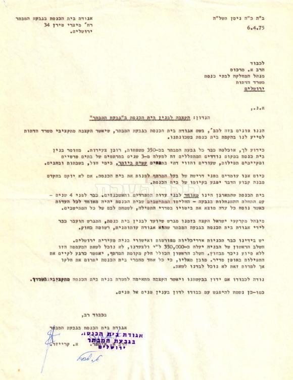 מסמך מימי טרום הקמת בית הכנסת