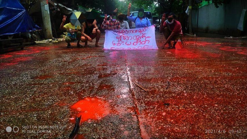 הפגנות כנגד הטבח במיאנמר (טוויטר)