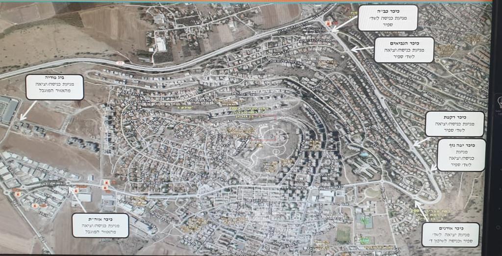מפת החסימות בטבריה (צילום: דוברות המשטרה)