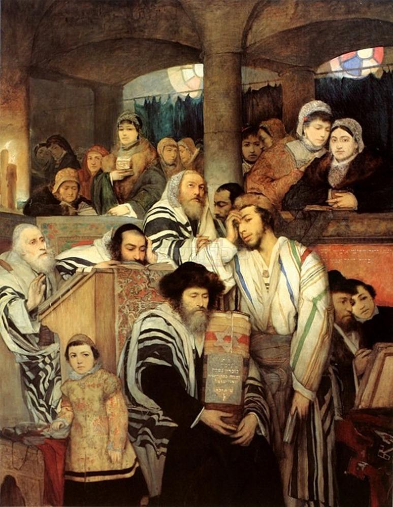 ''יהודים מתפללים ביום הכיפורים'' התמונה המקורית  (מתוך ויקיפדיה)