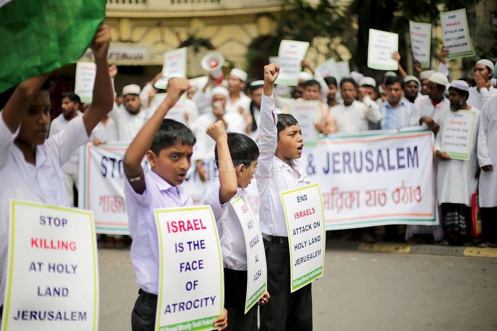 מפגינים מוסלמים בהודו נגד ישראל
