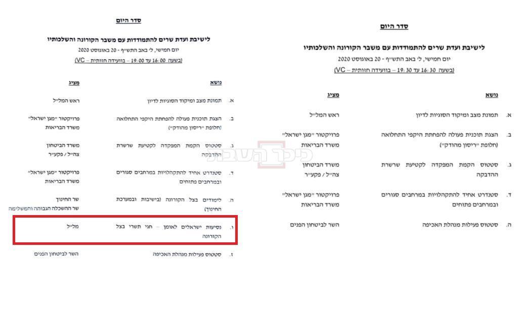סדר ישיבת הממשלה לפני ואחרי