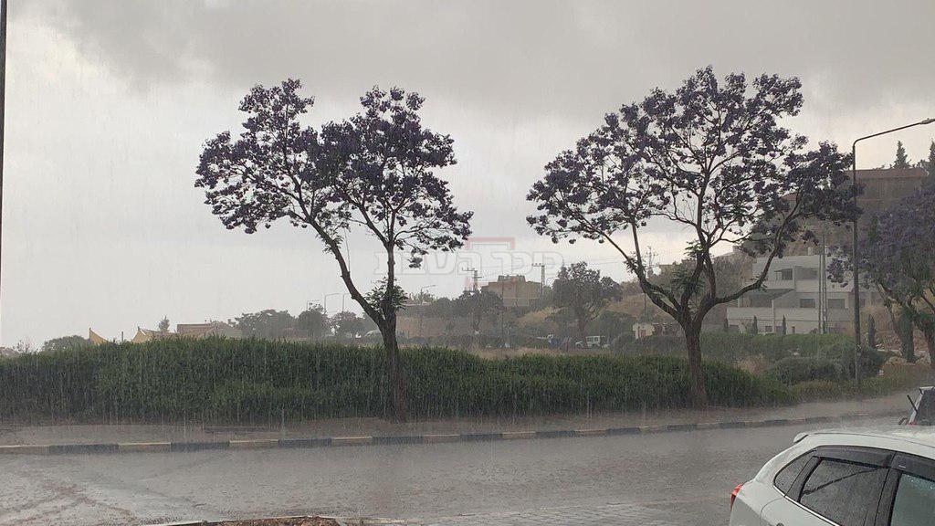 הגשמים בצפת (צילום: עיריית צפת)