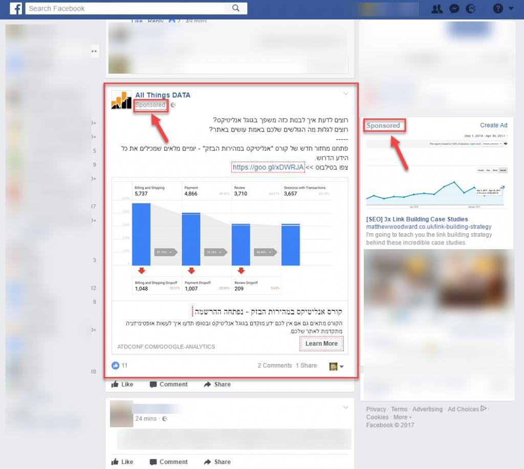 צילום המסך הזה לקוח מתוך הפיד הפרטי של הפייסבוק שלי, כמו שניתן לראות , הפרסומות שאני רואה מכוונות באופן ישיר לתחומי העניין שלי (כמי שמתעסק בשיווק דיגיטלי הפרסומות שמוצגות לי הן בתחום הSEO וגוגל אנליטיקס).