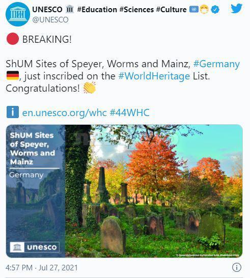 הדיווח על אתר המורשת החדש, בדף הטוויטר של אונסק''ו (צילום מסך)