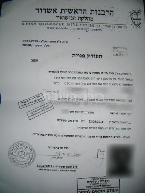 הרבנות באשדוד מכשירים את גירושי האישה