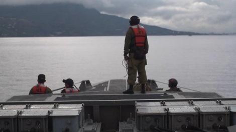 """סיפון ספינת חיל היום (צילום: דובר צה""""ל)"""