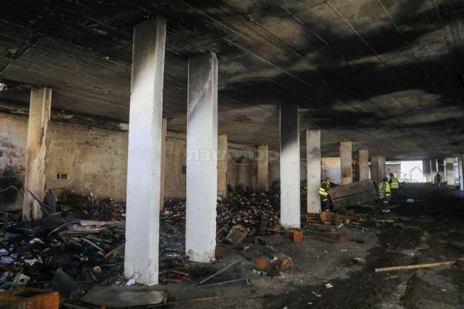 החניון השרוף. פעם היו פה מחסנים