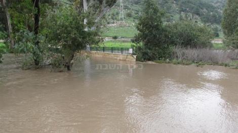 גשר חוות החיות בטבעון מוצף