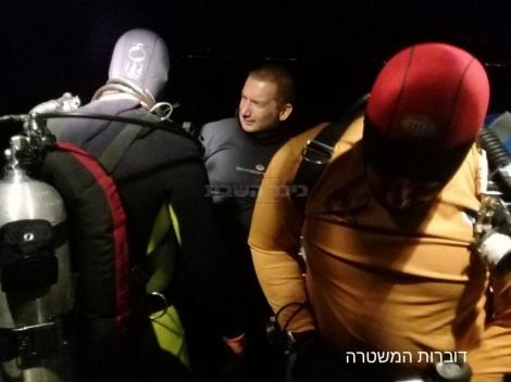 החיפושים בכינרת (צילום: דוברות המשטרה)