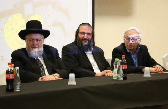 פרופ' פרידלנדר, הרב יעקב ירוסלבסקי והרב שליזנגר. צילום: יחצ