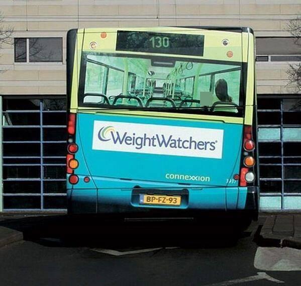פרסומת לשומרי משקל, האוטובוס לא באמת עקום...