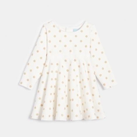 שמלה לבנה שרוול ארוך לתינוקות, ממותג obaibi  מחיר מדבקה 159.90, מחיר לאחר הנחה 127.92