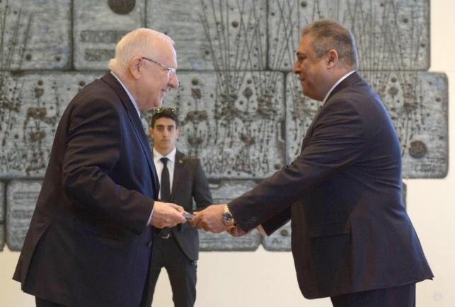 ריבלין קיבל את כתב האמנה של שגריר מצרים