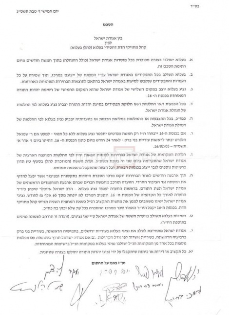 ההסכם של חסידות בעלזא עם 'אגודת ישראל'. צילום בלעדי: כיכר השבת