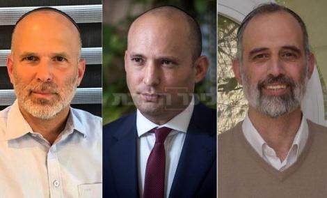 המתמודדים מימין לשמאל יצחק זאגא, נפתלי בנט, יונתן ברנסקי