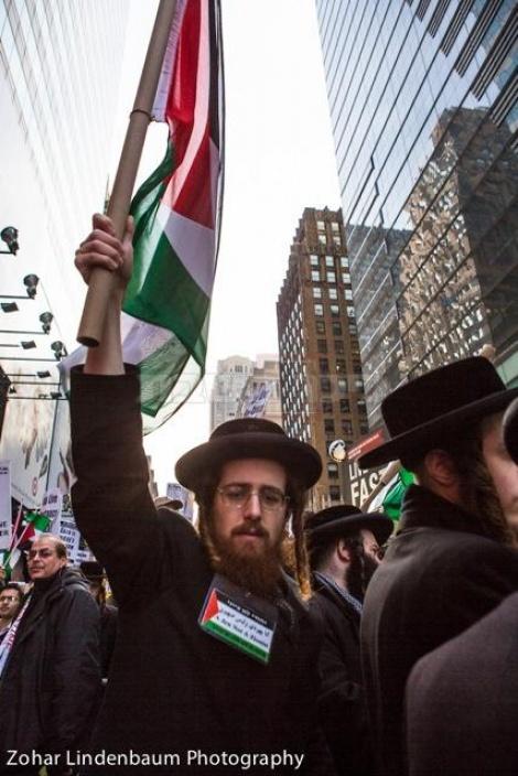 חסידי סאטמר מניפים דגל פלסטין בניו יורק