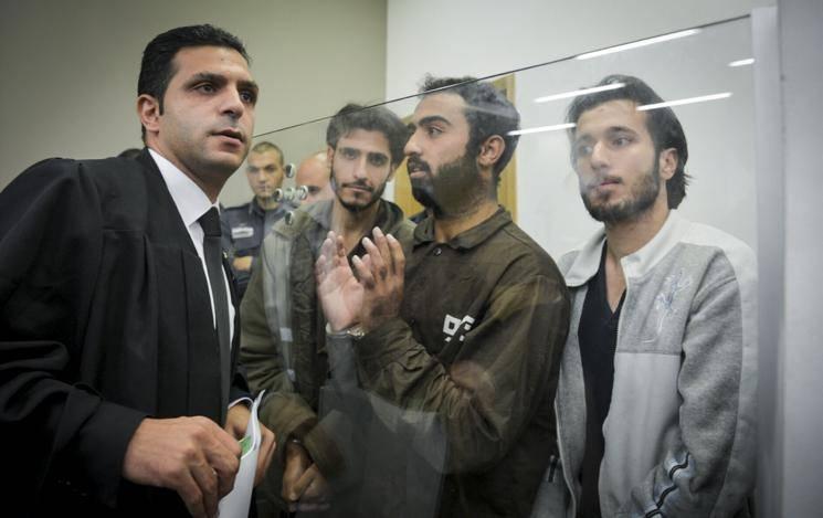המחבלים בבית המשפט (צילום: פלאש 90)