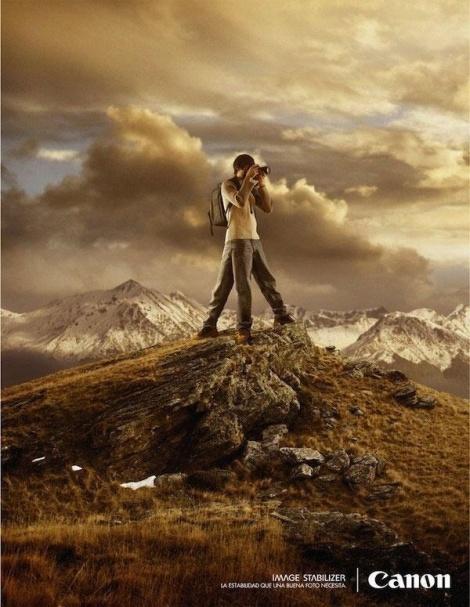 פרסומת למצלמה של Canon המדגישה את פיצ'ר ייצוב התמונה