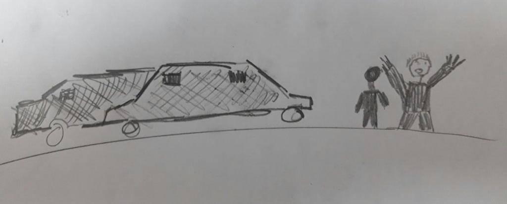 גבר נפלט ממכונית. איור אילוסטרציה