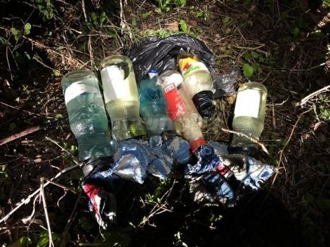 """בקבוקי התבערה שנמצאו בזירה (צילום: דובר צה""""ל)"""