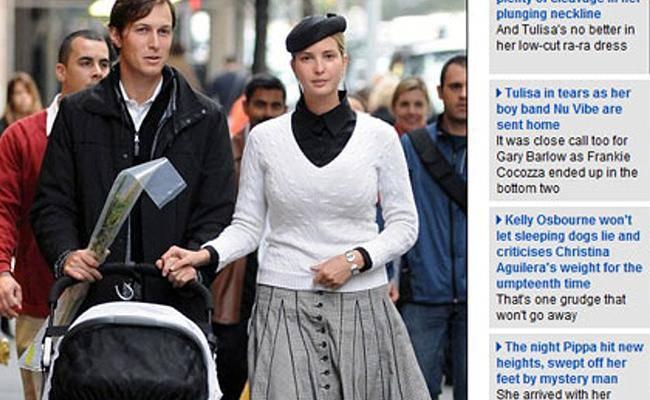 הבת היהודיה של טראמפ עם בעלה והלולב (צילום מסך מתוך דיילי מייל)