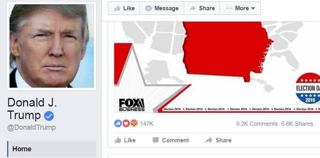 הפייסבוק של טראמפ עם מאות אלפי לייקים הבוקר