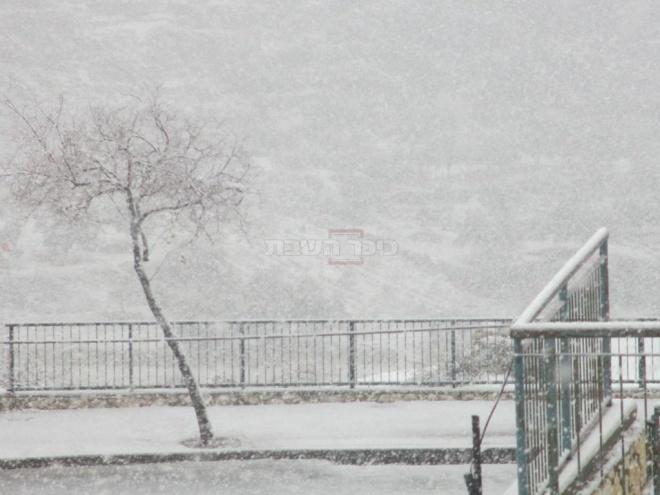 השלג בביתר. (צילום: אהרון, המייל האדום)