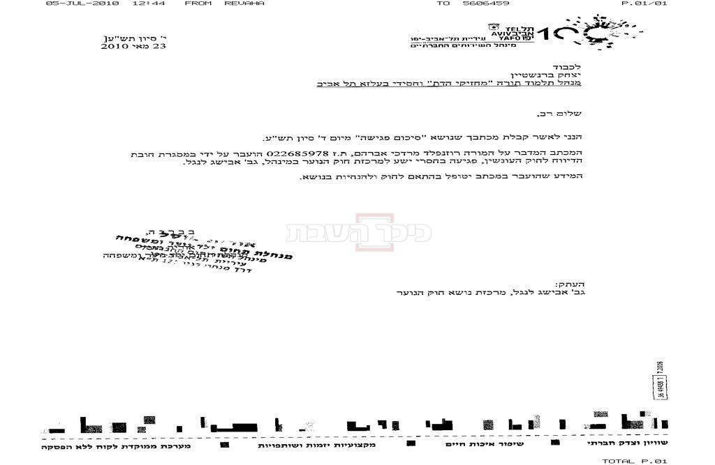 המסמך שמאשר את העברת המידע