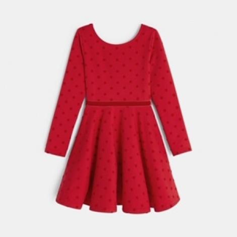 שמלה אדומה שרוול ארוך לבנות, ממותג okaidi  מחיר מדבקה 189.90 מחיר לאחר הנחה 151.92