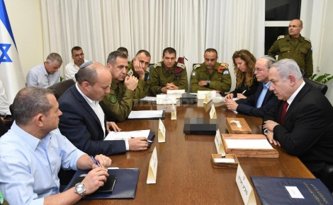 """ראש הממשלה, שר הביטחון ובכירי מערכת הביטחון בהערכת מצב, הערב (צילום: חיים צח, לע""""מ)"""