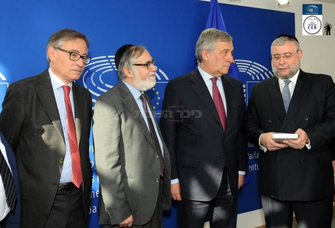 הרב גולדשמידט והרב גיגי עם ראשי האיחוד, צילום: לשכת סגן נשיא הנציבות האירופית
