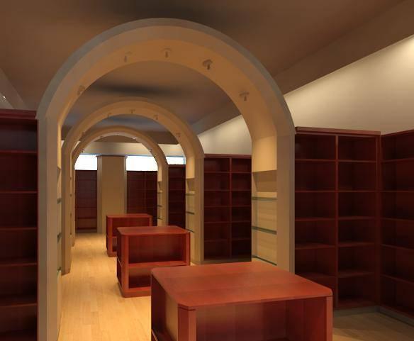 הדמייה של חנות ספרי קודש. אסתי אבלס, אדריכלית.