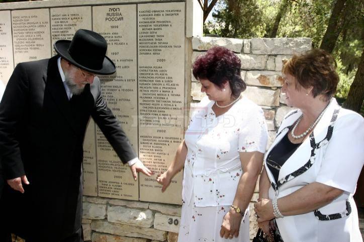 הרב ישראל מאיר לאו בטקס הענקת תעודה למשפחה שהצילה אותו