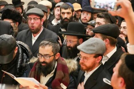 במרכז, הרב שמואל רבינוביץ, רב הכותל ולצידו חונה דייטש (צילום: חיים טויטו)