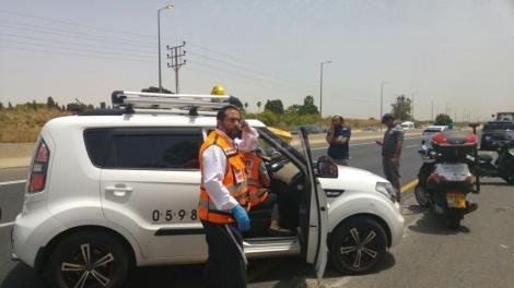 זירת התאונה בכביש 40 (צילום: דוברות איחוד הצלה)