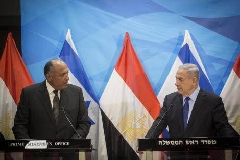 פגישת ראש הממשלה עם שר החוץ המצרי (צילום: הדס פרוש, פלאש90)