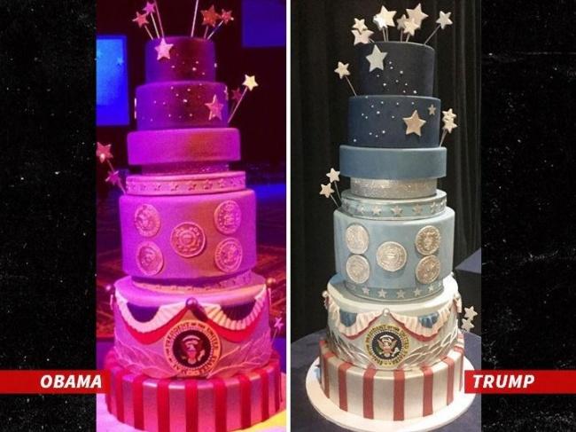 """""""אותה העוגה בדיוק"""". משמאל: העוגה של אובמה, מימין: העוגה של טראמפ"""