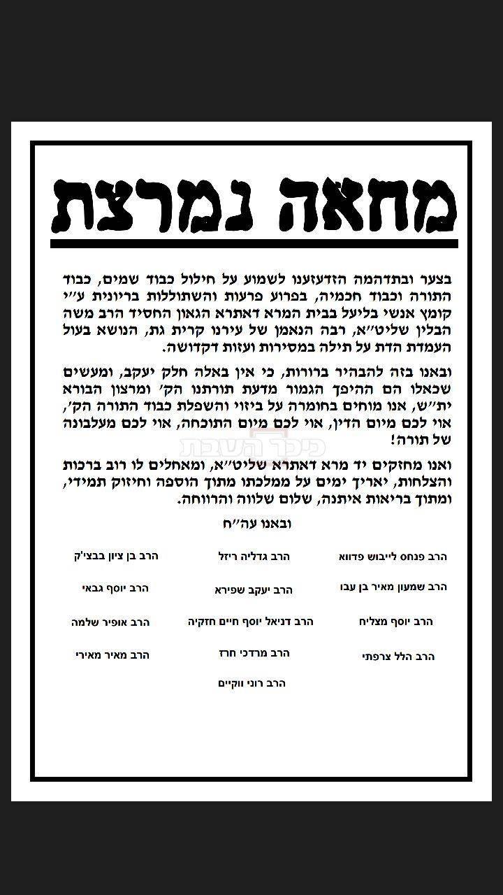 מכתב הרבנים בעד הרב הבלין (סריקה)