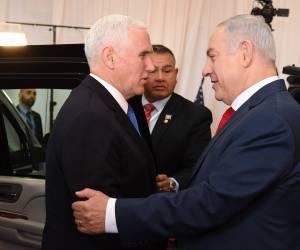 """ביקור סגן הנשיא: פנס לנתניהו: """"כבוד גדול להגיע לירושלים, בירת ישראל"""""""